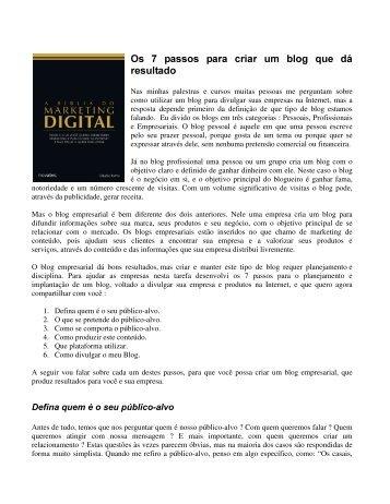 Os 7 passos para criar um blog que dá resultado - Claudio Torres ...