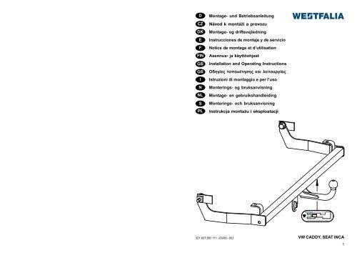 VW CADDY, SEAT INCA D Montage- und ... - kupp-west