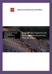 MASTER Kommentiertes Vorlesungsverzeichnis WiSe 2013/14