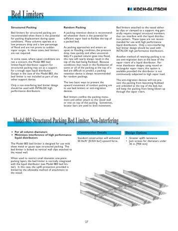 Metal packing vapor distributors koch glitsch for Koch glitsch