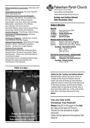 Sunday next before Advent 25th November 2012 Today's Worship ...