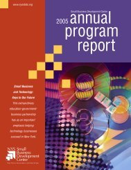 2005 Annual Report - New York State Small Business Development ...