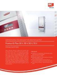 Fronius IG Plus 30 V, 35 V, 50 V, 70 V - IBC Solar