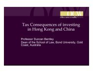 Tax Consequences of investing in Hong Kong and China