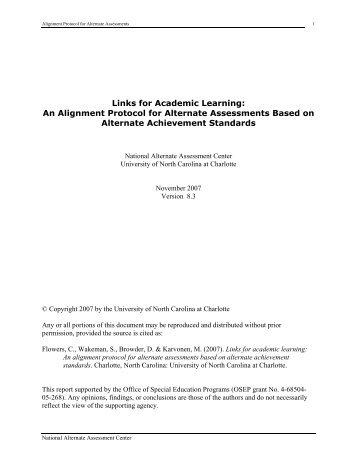 Links for Academic Learning: An Alignment Protocol for Alternate ...