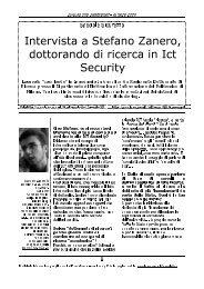 Intervista a Stefano Zanero, dottorando di ricerca in ... - ISACA Roma
