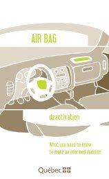 Air Bag Deactivation - Société de l'assurance automobile du Québec