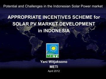 Appropriate incentives scheme for Solar PV market development in ...
