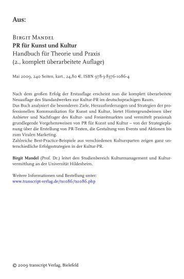 Birgit Mandel PR für Kunst und Kultur Handbuch für Theorie und ...
