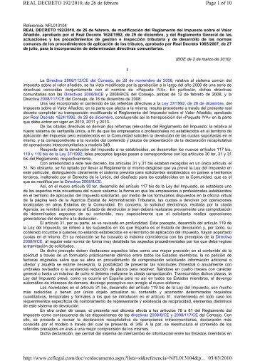 Page 1 of 10 REAL DECRETO 192/2010, de 26 ... - Fiscal impuestos