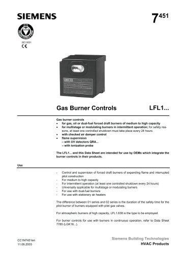 7451 Gas Burner Controls LFL1... - California Boiler