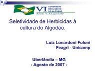 Seletividade de Herbicidas à cultura do Algodão. - Embrapa Algodão