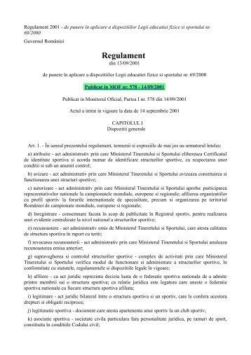 Regulament de punere in aplicare a dispozitiilor Legii 69/2000