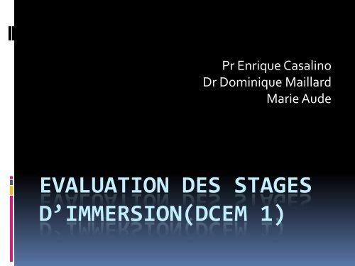 Evaluation des Stages D1