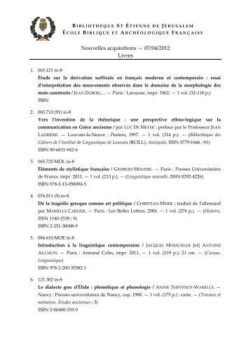 Nouvelles acquisitions — 07/04/2012 Livres - EBAF