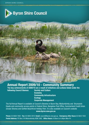 Annual Report 2009/10 - Community Summary - Byron Shire Council