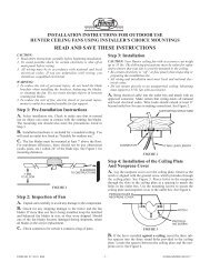 READ AND SAVE THESE INSTRUCTIONS - Hunter Fan Company