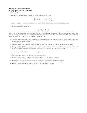 The Trace-Determinant Plane MTH 264 Differential ... - Delta College
