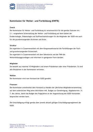 Reglement KWFB 2012 - Schweizerischen Gesellschaft für ...