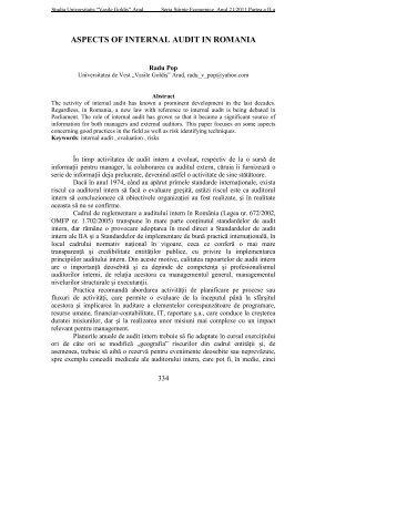 "aspects of internal audit in romania - Universitatea de Vest ""Vasile ..."
