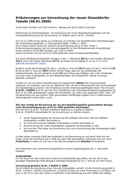 Düsseldorfer tabelle 2020 abzüglich kindergeld