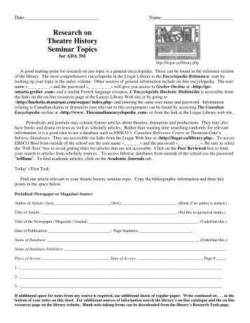 Research on Theatre History Seminar Topics