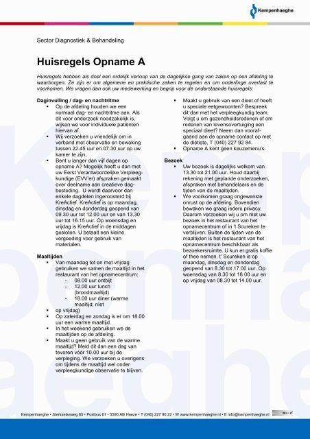 Huisregels Opname A - voor web - Kempenhaeghe