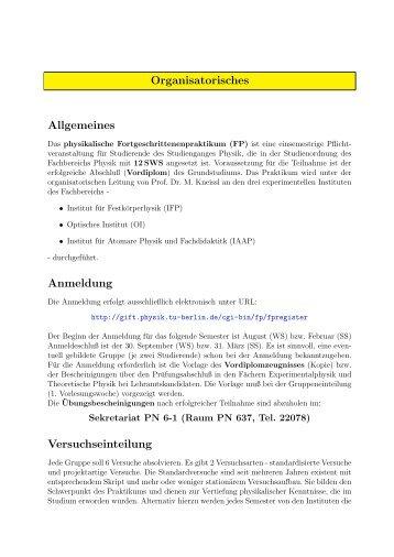 Fortgeschrittenenpraktikum - Versuche - Fachbereich Physik - TU ...