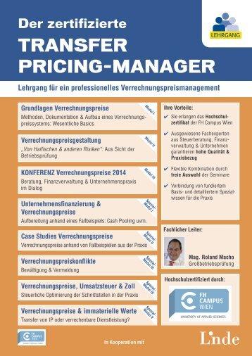 Lehrgang: Der zertifizierte Transfer Pricing-Manager - Linde Verlag