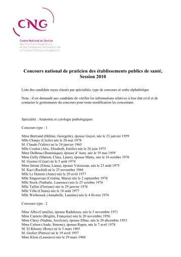Liste d'aptitude 2010 - CNG