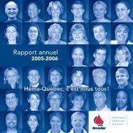 Rapport annuel complet (2,7 Mo) - Héma-Québec