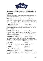 commonly used herbs & essential oils - Denes Natural Pet Care