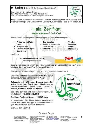 Halal Zertifikat - Indasia.de