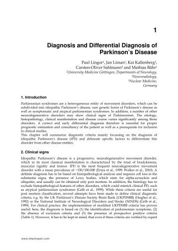 1 Diagnosis and Differential Diagnosis of Parkinson's Disease - InTech