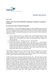 FINRA Fines Three Firms $900,000 for Inadequate ... - Frank-CS.org