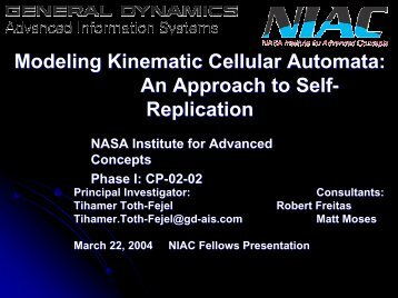 Tihamer Toth-Fejel - NASA's Institute for Advanced Concepts