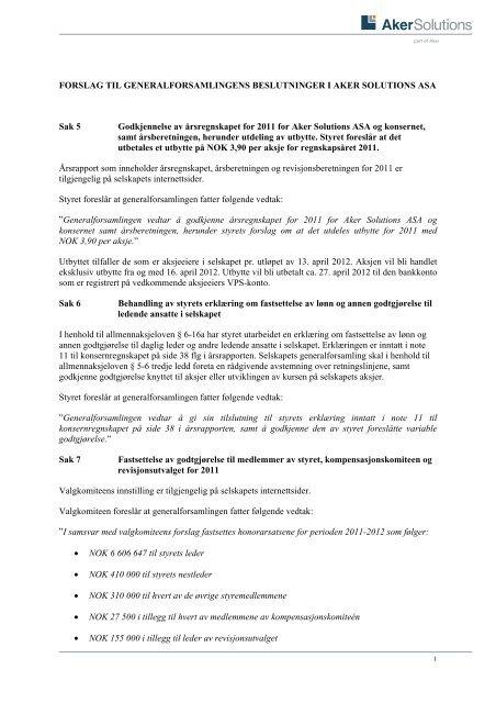 FORSLAG TIL GENERALFORSAMLINGENS ... - Aker Solutions