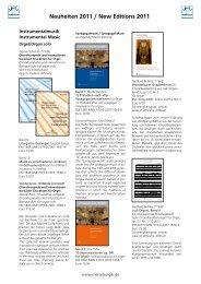 Neuheiten 2011 / New Editions 2011