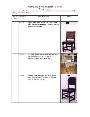 1 THE FREDERICK PARKER COLLECTION OF CHAIRS Catalogue ...