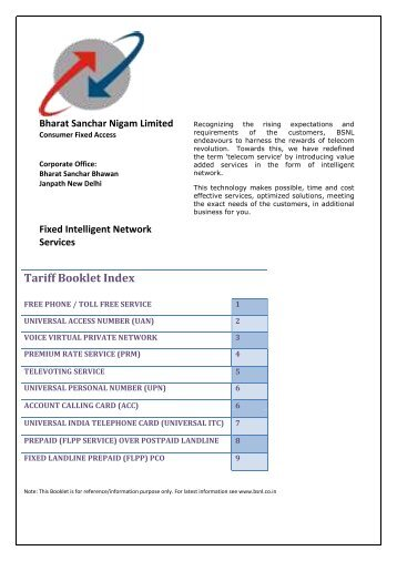 BSNL tariff book IN services