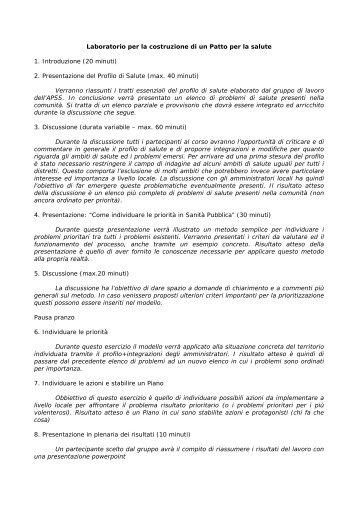 Laboratorio per la costruzione di un Patto per la ... - Trentino Salute