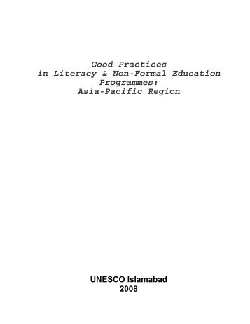 Good Practices in Literacy and NFE Programmes - Literacyportal.net