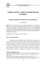 Acculturation and Social Integration - Research Centre on Identity ...