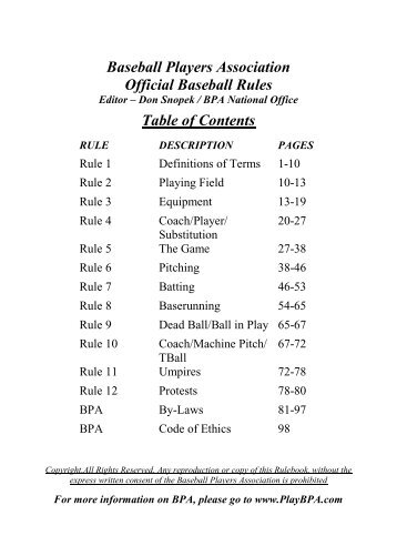 NATIONAL SOFTBALL ASSOCIATION BASEBALL ... - BPA Website