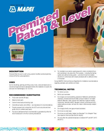 Premixed Patch & Level Premixed Patch & Level - Mapei