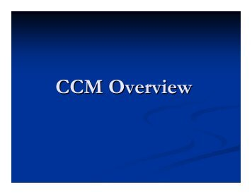 CCM Overview - CMAA