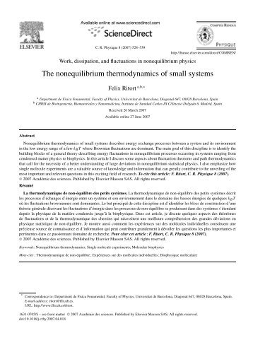 The nonequilibrium thermodynamics of small systems