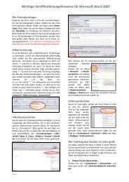 Veröffentlichungshinweise für Microsoft Word 2007 - Tredition