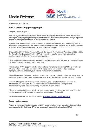 RPA - celebrating young people - Sydney South West Area Health ...