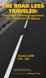 the road less traveled - Syracuse University College of Law